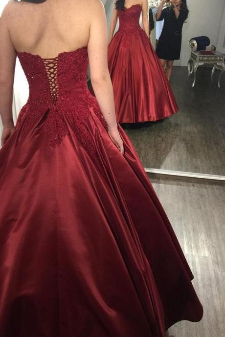 Cheap prom dresses 2017,Sweetheart Lace Appliqued Burgundy Prom Dresses Ball Gowns