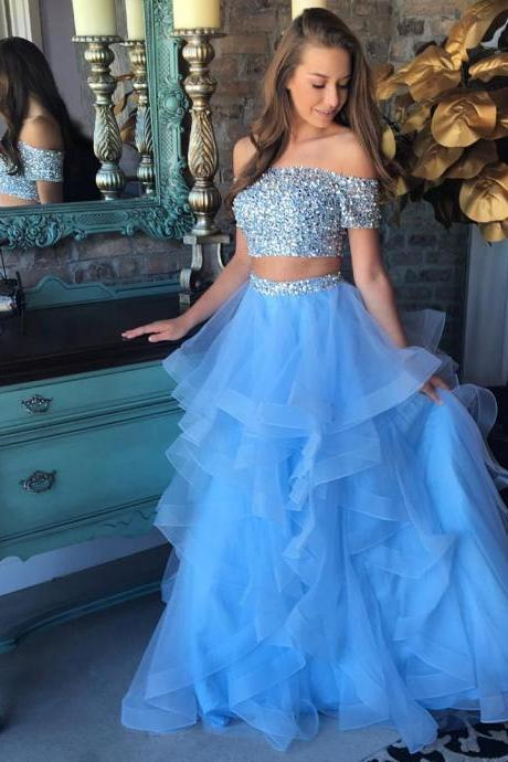 Cheap prom dresses 2017,Ice Organza Ruffled and Beaded Two Pieces Prom Dresses