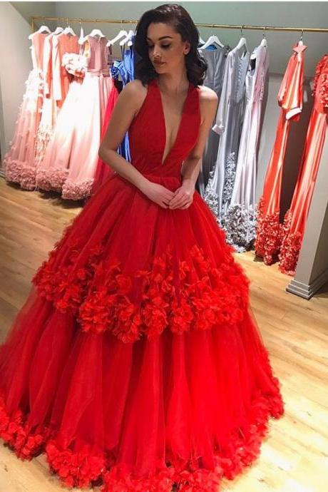 Cheap prom dresses 2017,Deep V Neckline Layered Tulle Prom Dresses Ball Gowns