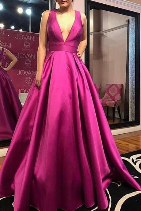 Cheap prom dresses 2017,Beautiful Bow Back V Neck Sexy Prom Dresses Long
