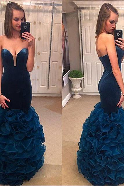 Cheap prom dresses 2017,Velvet and Organza Dresses for Prom,Navy Blue Mermaid Evening Gowns