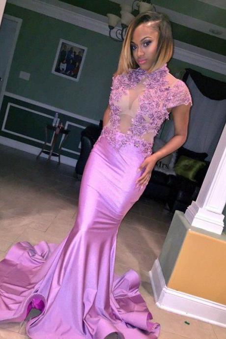 Illusion Lilac High Neck Cheap Cap Sleeve Appliques Flowers Mermaid Prom Dress