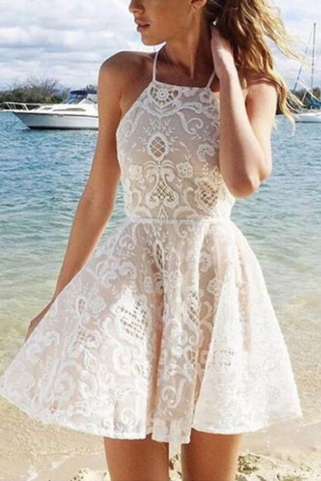 2017 A-line Halter Short White Criss-Cross Straps Lace Homecoming Dress With Pleats