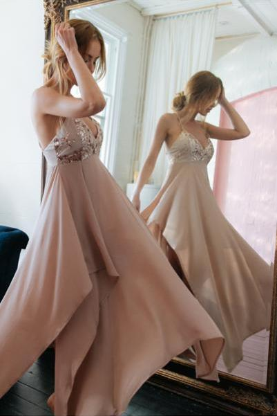 Gorgeous Straps Prom Dress,Long V Neck Chiffon Party Dress