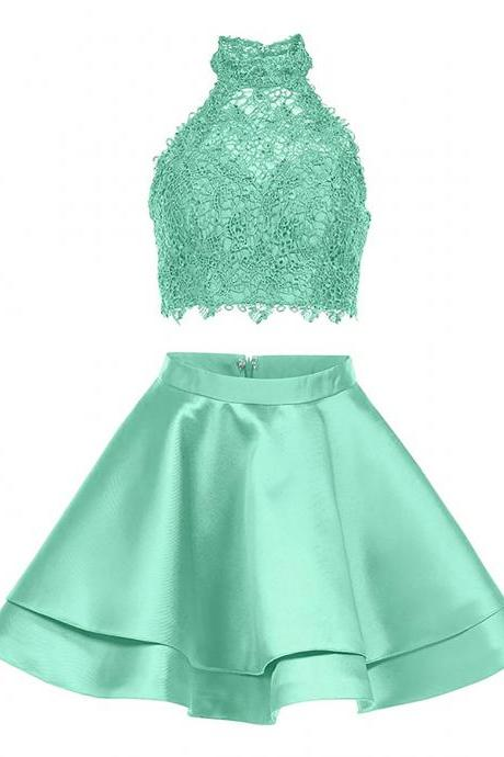 High Neck two Piece Homecoming Dress Short Party Gowns
