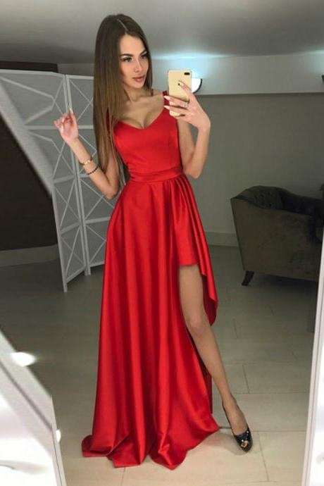 Modern A-line Scoop Hi-Lo Red Sleeveless Prom Dress