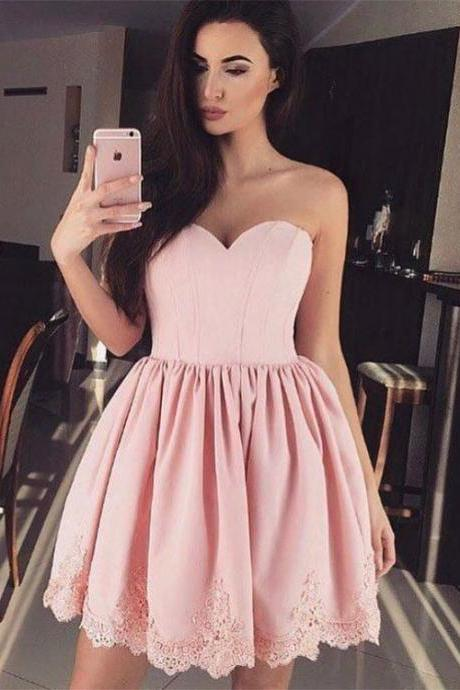 2017 Pink Homecoming Dresses Mini Graduation Dresses