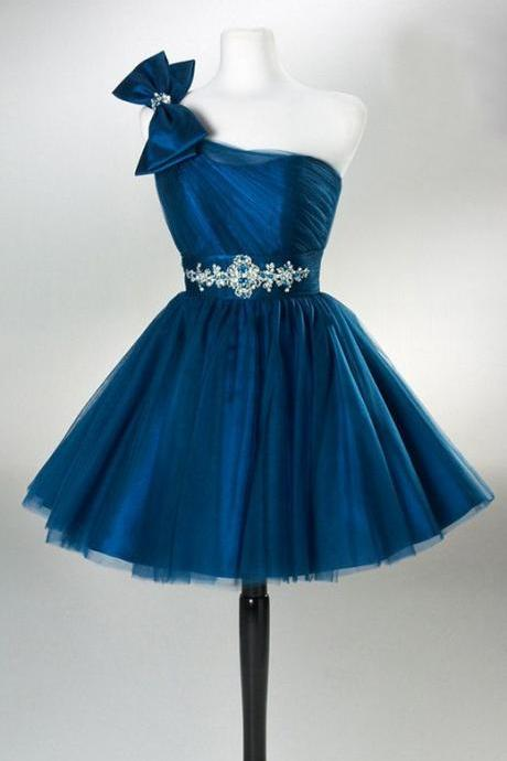 Blue One Shoulder Tulle Homecoming Dresses