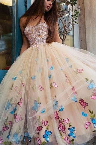 Unique champagne tulle flower appliques A-line long prom dress