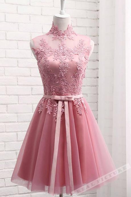 Cheap Pink High Neckline Lace Applique Homecoming Dress