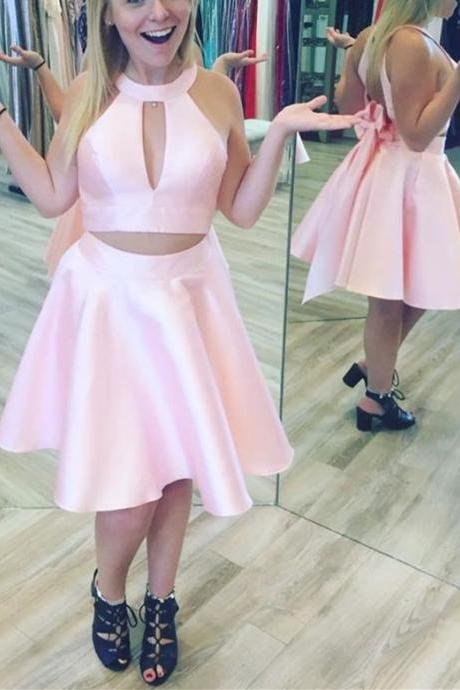 Cute Two Piece Satin Short Homecoming Dress