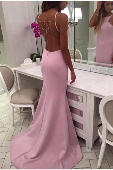 Pink Halter Backless Mermaid Prom Gowns, Pink Formal Dresses, Long Party Dresses 2017