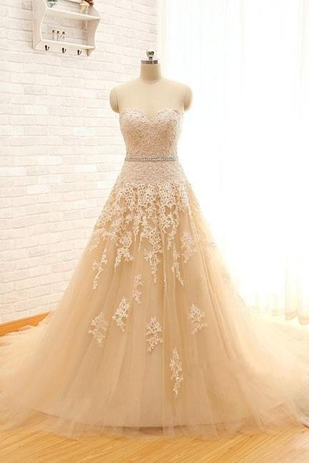 Champagne Real Image Sweetheart Lace Tulle Wedding Dress
