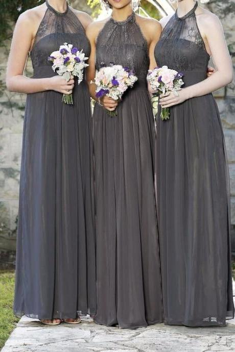 Halter Bridesmaid Dresses, Lace Top Chiffon Skirt Bridesmaid Dresses