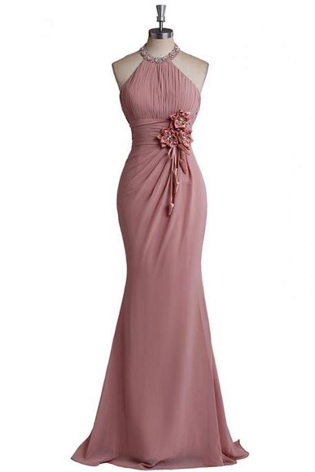 Halter Ruched Chiffon Mermaid Long Prom Dress, Evening Dress with Floral Appliqués