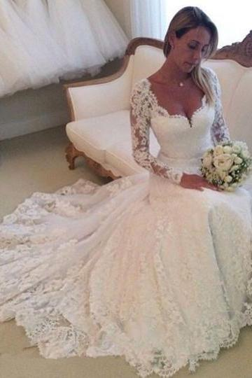 Deep V-Neck Long Sleeves Lace Tulle A-Line Wedding Dress