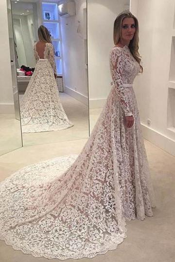 Romantic A Line Long Sleeves Backless Lace Wedding Dress