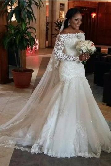 Long Sleeves Lace Off-The-Shoulder Mermaid Wedding Dress
