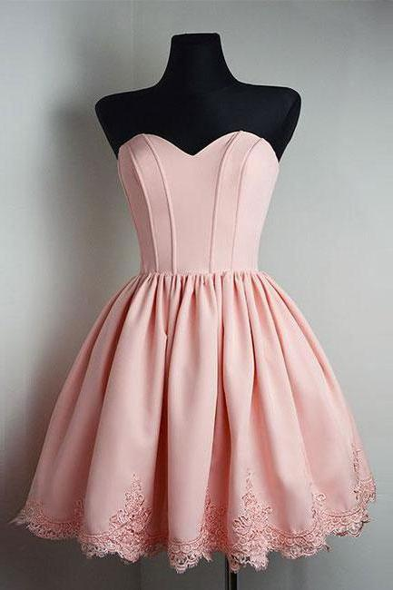 Ball Gown Lace Up Simple Homecoming Dress,Pink Homecoming Dress