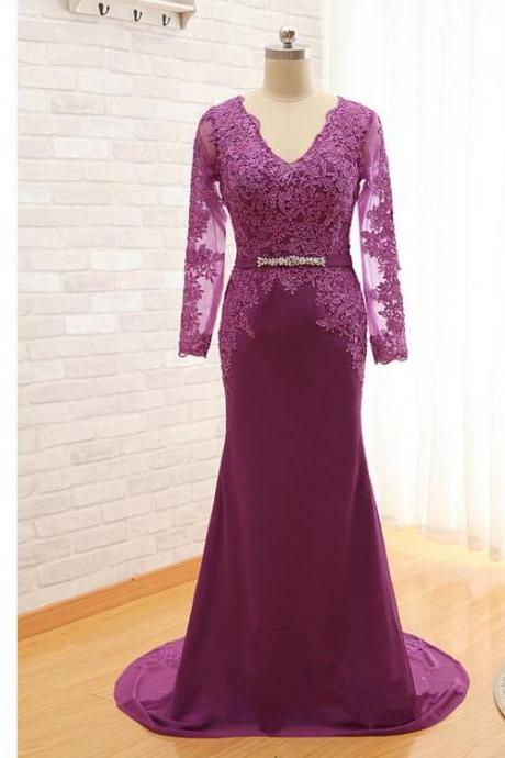 Purple Long Sleeves Lace Applique V Neck Sweep Mother Of The Bride Dresses