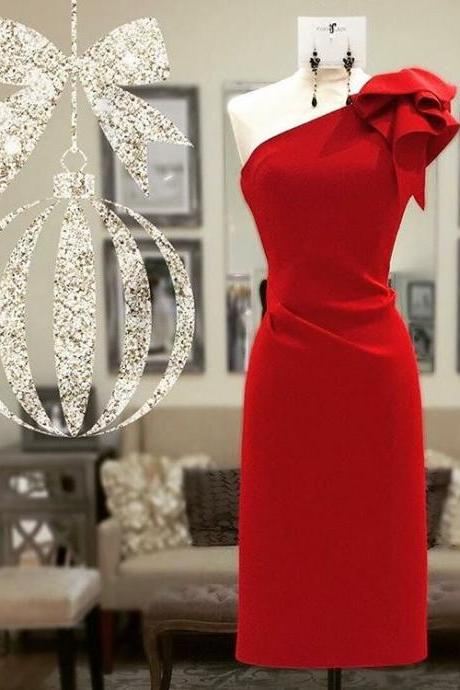 Custom Made Red One Shoulder Short Bridesmaid Dress with Ribbon