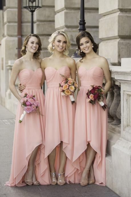 A-Line Sweetheart Pink Chiffon Long Bridesmaid Dress With Pleats