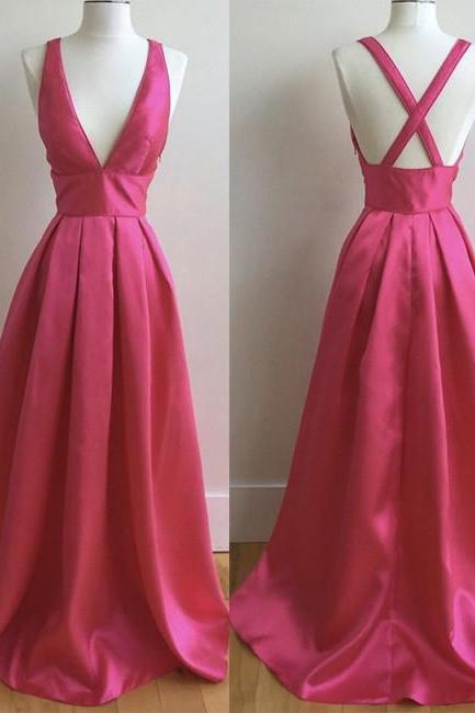 Plunging V A-line Long Prom Dress, Evening Dress Featuring Crisscross Back