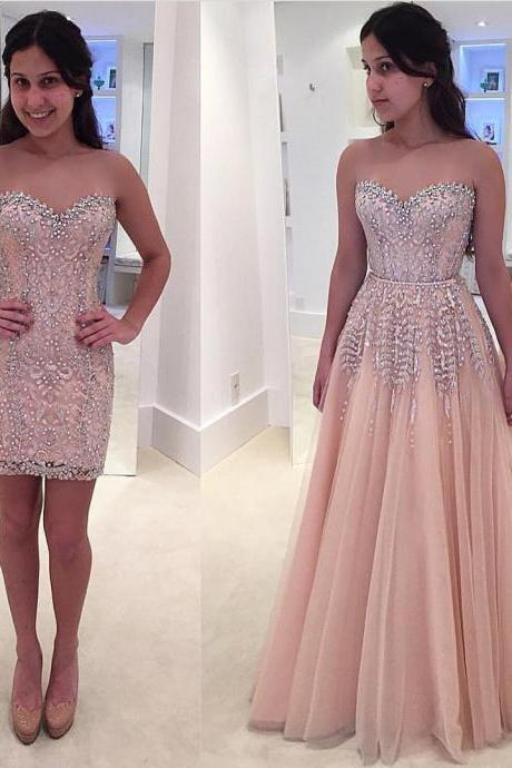 Gorgeous Beads Lace Formal Evening Dress Sleeveless Sweetheart Prom Dress