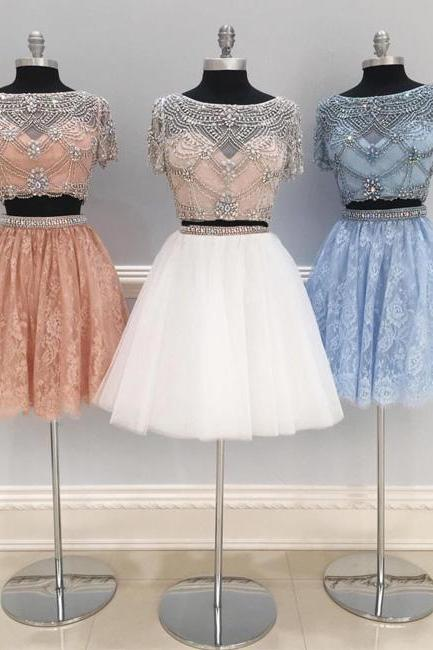 CUTE TWO PIECES TULLE BEADS SHORT PROM DRESS, HOMECOMING DRESS