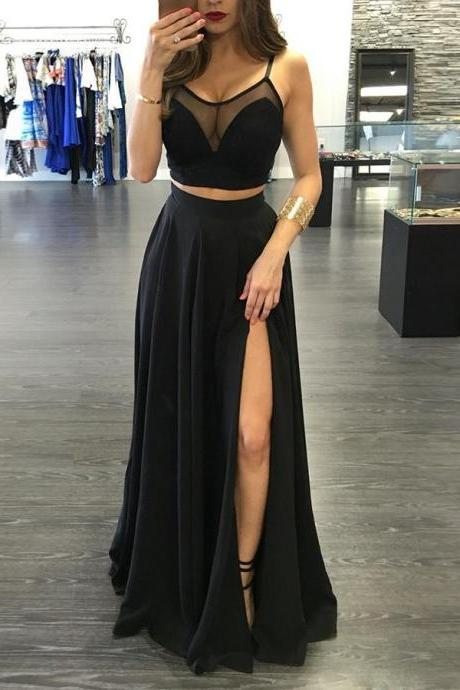 Two Piece Spaghetti Straps Black Chiffon Prom Dress with Slit