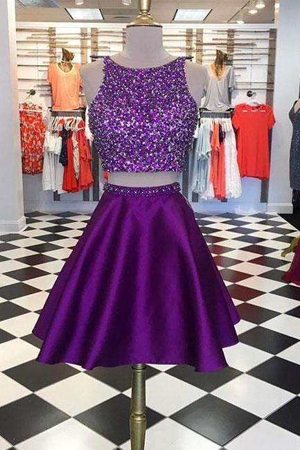 Purple Two Pieces Sequin Short Prom Dress