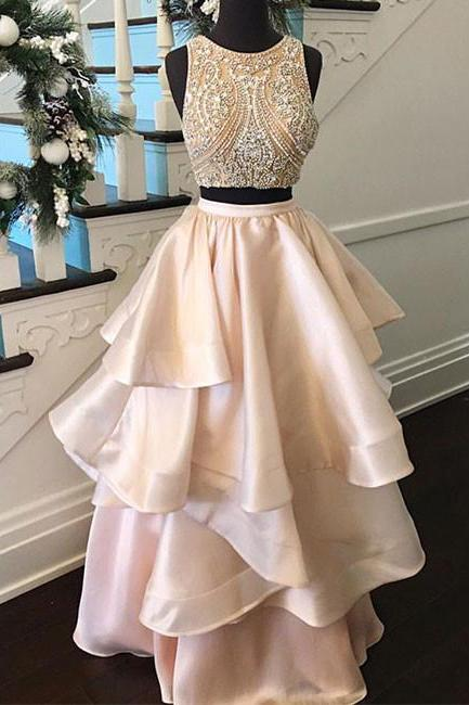 Pink Two Pieces Beaded Long Prom Dress