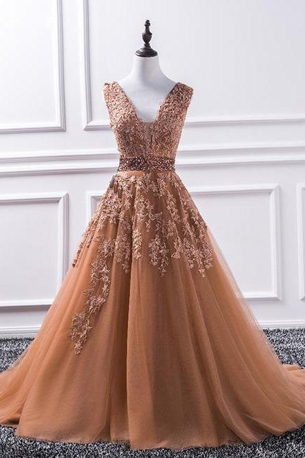 Lace Appliqués Plunge V Sleeveless Floor Length Tulle Formal Dress, Prom Dress