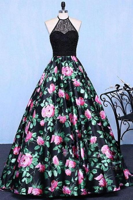 A-Line Halter Floral Print Long Prom/Evening Dress with Beading