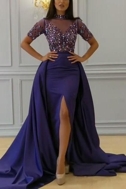 High Neck Short Sleeves Split Prom Dress Mermaid Special Occasion Dress With Detachable Skirt