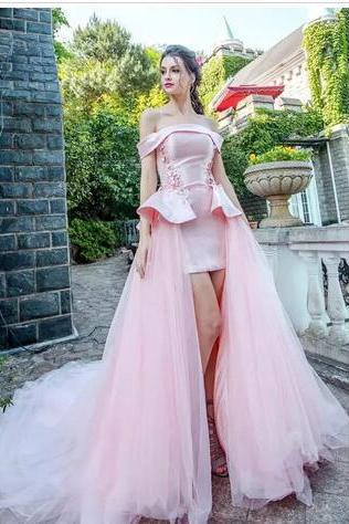 Pink Evening Dresses Off Shoulder Short Sleeves Red Carpet Evening Gowns Back Lace-Up Sweep Train