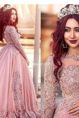 Long Sleeves Evening Dresses Princess Muslim Prom Dresses With Sequins