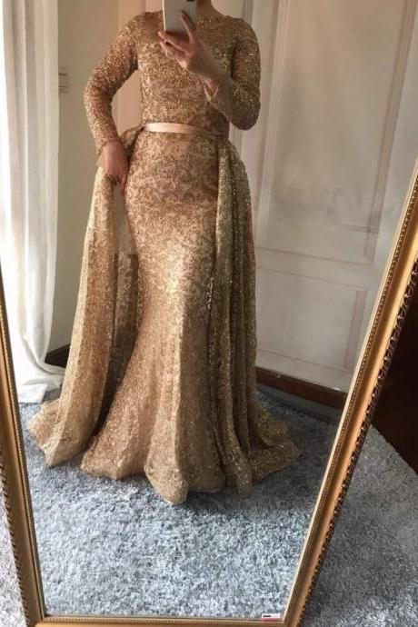 Mermaid Luxury Evening Dress Long Sleeves Gliter with train Gold Evening Gowns 2017