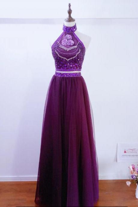 Fashion Purple homecoming Dresses Bridesmaid Dresses Spring summer Beading Crystal Country gowns