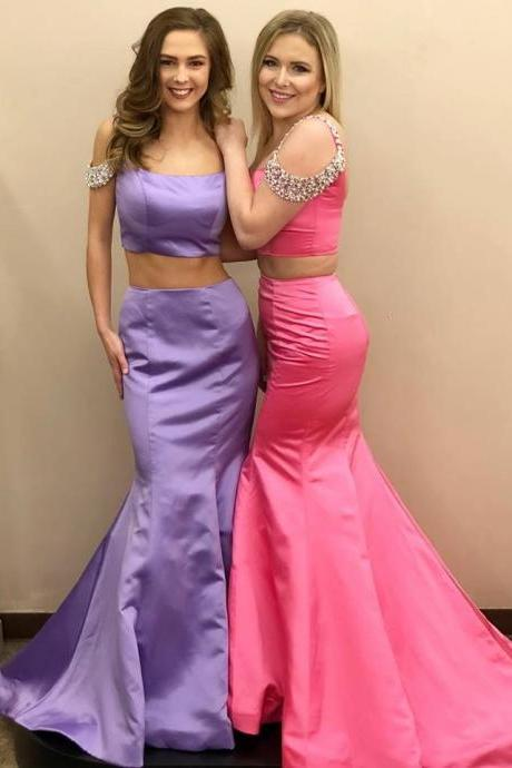 Sexy Two Piece Prom Dress, Long Evening Dress