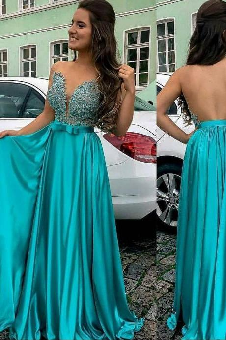 See Through Back Sheer Beaded Blue Evening Prom Dress 2017 Sexy V-neck A line Satin Prom Dresses