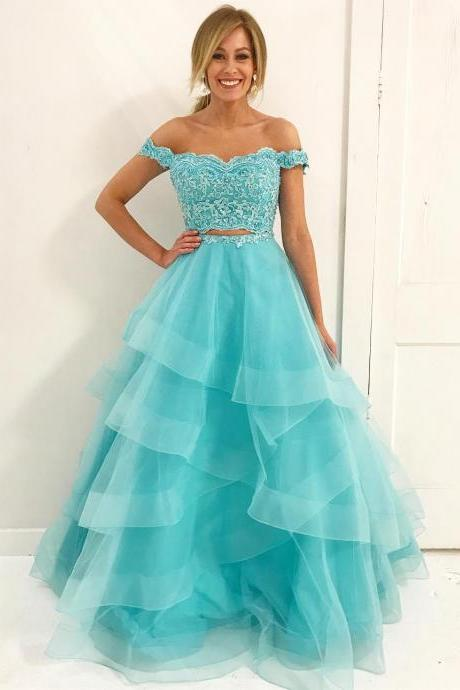 Off Shoulder Two piece Blue Long Prom Dress,Applique Lace Evening Dress