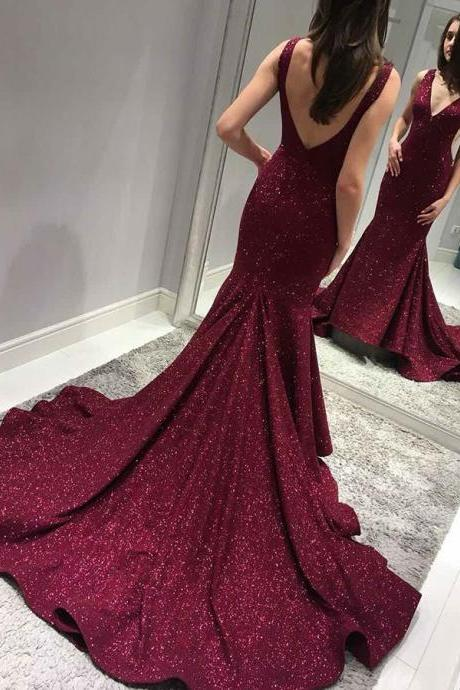 Backless Sweep Train Burgundy Prom Dress, Sequined Prom Dress, Sexy Sequins Prom Dresses