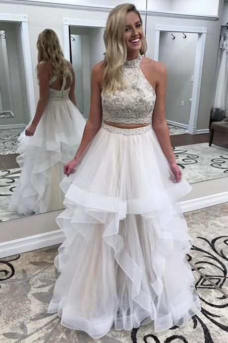 Two Piece Beads Ivory Long Prom Dress,Tulle Prom Dress,Evening Dress