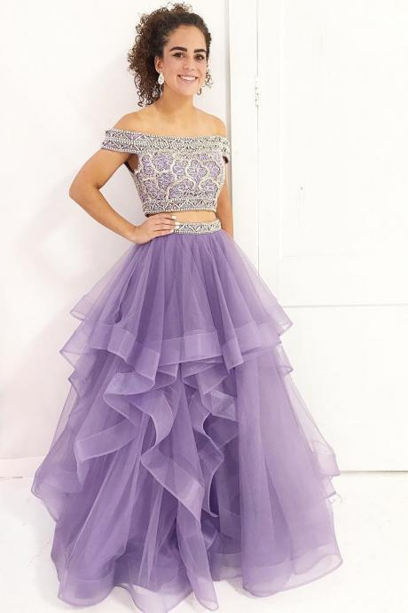Two Piece Off Shoulder Lavender Long Prom Dress