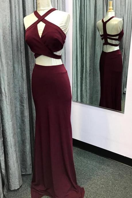 two piece prom dress,mermaid prom dress,burgundy prom dress,mermaid evening gowns