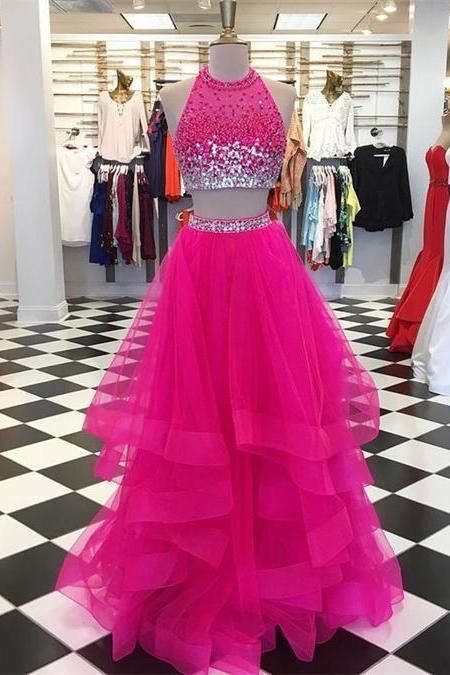 Beaded Halter Tulle Two Piece Prom Dresses,Red Ball Gowns