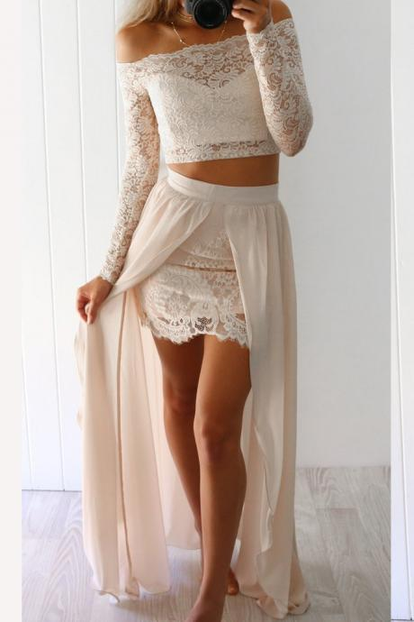 2 Piece Lace Prom Dresses,Long Sleeves Beige Long Prom Dress with Slit