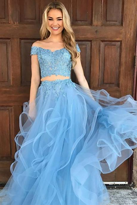 A-Line/Princess Sleeveless Off-the-Shoulder Tulle Applique Floor-Length Two Prom Piece Dresses