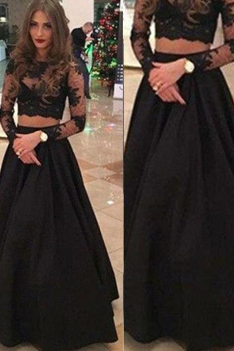 Princess Long Sleeves Scoop Floor-Length Lace Prom Dresses